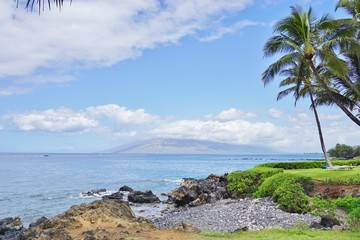 The Wailea beach area, on the West shore of the island of Maui in Hawaii