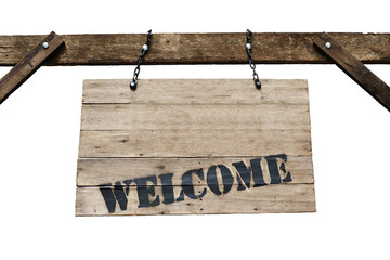 Welcome sign on old wooden signboard with chains in white backgr