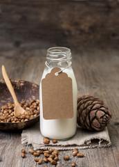 cedar milk in a bottle