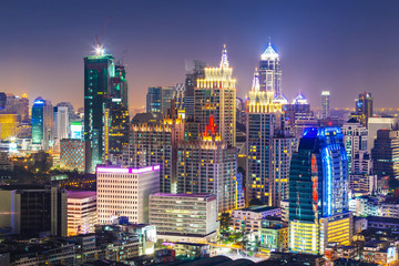 Bangkok Cityscape, Business district with high building, Thailan