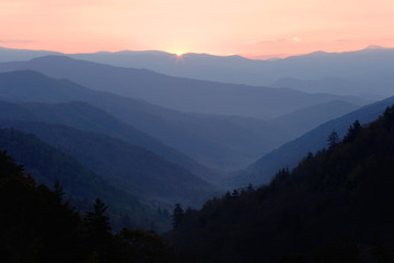 First Sun Light over Mountain Valley.  Smoky Mountains National Park, Tennessee