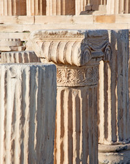 Athens - The detail of Ionic capital on the Acropolis.