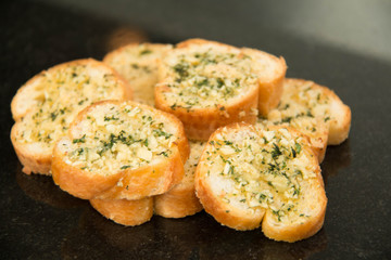 Garlic and herb bread close up.