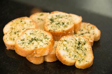 Garlic and herb bread close up.