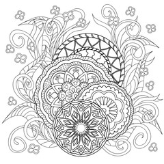 doodle flowers and mandalas