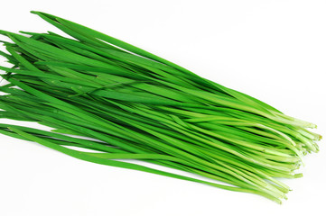 fresh chives on white background