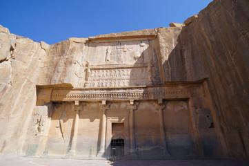 Faravahar Royal tombs facade, symbol on the ruins of old city Pe
