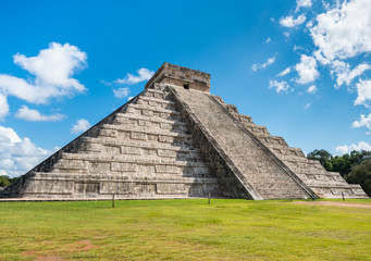 Famous mayan pyramid Chichen Itza in sunlight with nobody around in Mexico