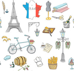 Seamless background set of hand drawn French icons, Paris sketch illustration, doodle elements Isolated national elements Vector Travel to France icons for cards and web pages Paris symbols collection