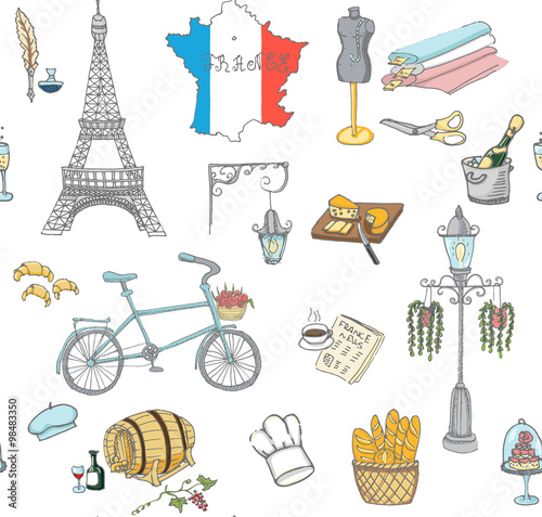 Seamless Background Set Of Hand Drawn French Icons Paris Sketch
