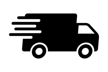 Fast shipping delivery truck flat icon for apps and websites Wall mural