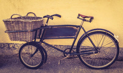 An old fashioned delivery bicycle