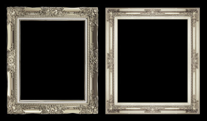 collection 2 antique golden frame isolated on black background,