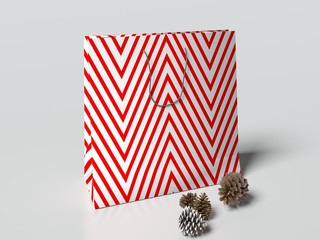 Christmas paper bag with handles on the light gray background. mock up. 3d render