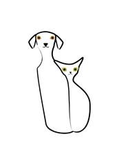 並んで座る犬とネコ