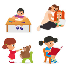 children play, paint and learn in kindergarten. vector illustration.