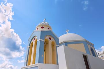 Beautiful traditional greek domed church at Firostefani.Santorinini (Thira) island.Cyclades.Greece.Europe.