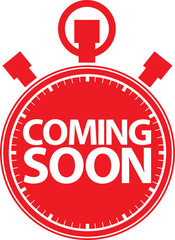 Coming soon stopwatch red icon, vector illustration