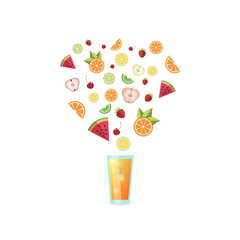 Glass of orange juice with fruit slices bursting out. Isolated on white background. Vector illustration.