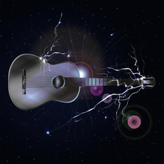 guitar in space with lightning