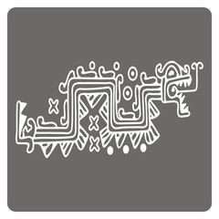 monochrome icon with American Indians art and ethnic ornaments for your design