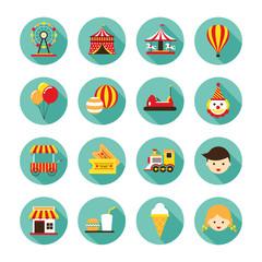 Amusement Park Flat Icons Set, Theme Park, Carnival, Fun Fair, Circus