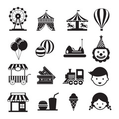 Amusement Park Mono Icons Set, Theme Park, Carnival, Fun Fair, Circus