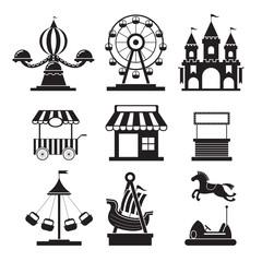 Amusement Park Objects Icons Mono Set, Theme Park, Carnival, Fun Fair, Circus