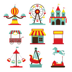 Amusement Park Objects Flat Icons Set, Theme Park, Carnival, Fun Fair, Circus