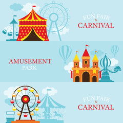 Amusement Park, Carnival, Fun Fair, Banner, Theme Park, Circus, Day Scene
