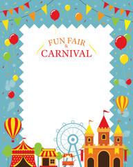 Amusement Park with Decoration Frame, Carnival, Fun Fair, Theme Park, Circus, Day Scene