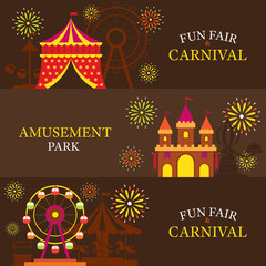 Amusement Park, Carnival, Fun Fair, Banner, Theme Park, Circus, Night Scene