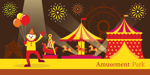 Amusement Park, Circus, Clown, Carnival, Fun Fair, Theme Park, Night Scene