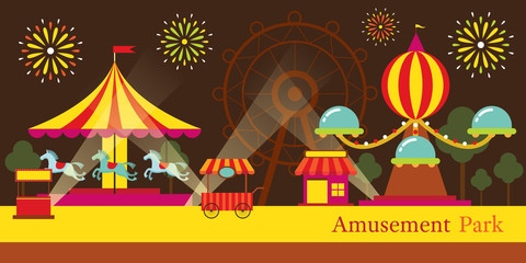Amusement Park, Carnival, Fun Fair, Theme Park, Circus, Night Scene