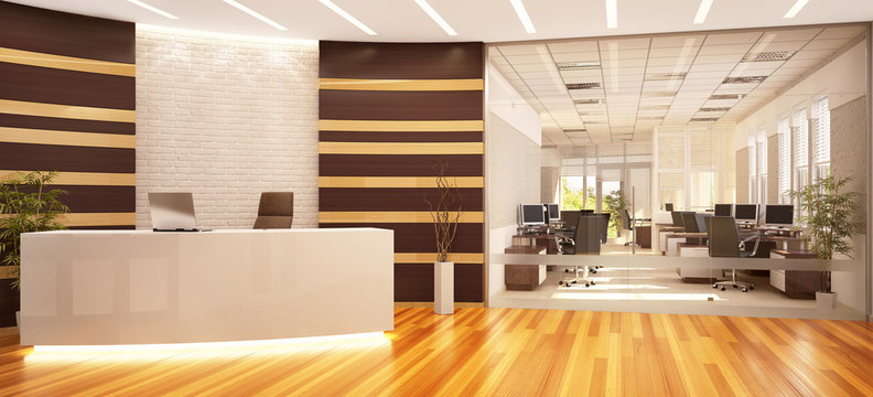 Modern and large office with reception
