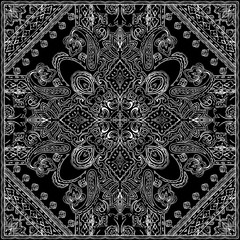 Monochrome Paisley pattern. Ethnic bohemian background for textile, wrapping, pillow