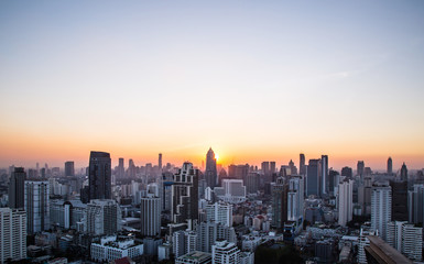 this is Cityscape and sunset at evening time