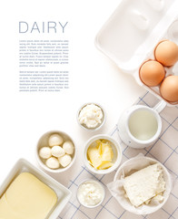 Aluminium Prints Dairy products Dairy products on a white table