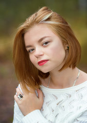 young beautiful girl with red hair