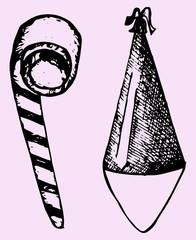 Party hat, noisemaker, doodle style, sketch illustration