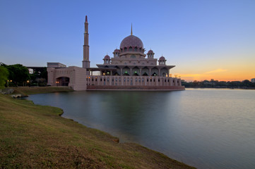 Sunrise at Masjid Putra or Putra Mosque, Putrajaya, Malaysia