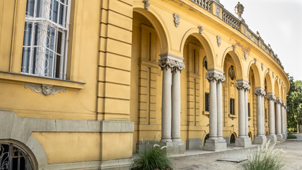 Exterior of the Szechenyi Baths in Budapest in Hungary. The biggest spa in Europe.
