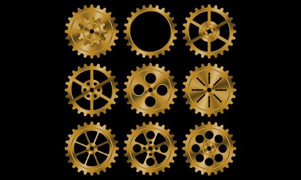 Set of golden gears on black background.