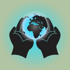 Globe in hands. Vector illustration