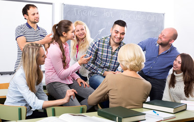 Students at language courses
