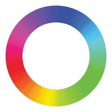Spectrum color wheel on white background.