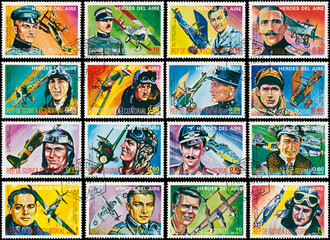 Stamps printed in Equatorial Guinea shows heroes of air