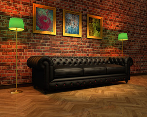 Home interior with leather sofa and three paintings