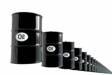 Barrel of oil on white background. business concept. Dollars. USA