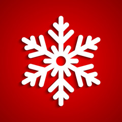 White snowflake with red background, a vector illustration.